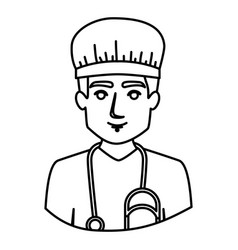 Monochrome contour half body of male nurse vector