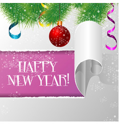 new year card christmas fir branch with ball and vector image