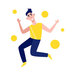 Oung man jumping isolated vector
