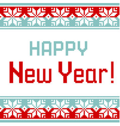pattern for knit greeting card happy new year vector image