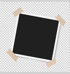 photo frame with shadow with adhesive tape vector image