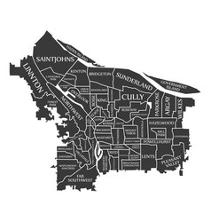 Portland oregon city map usa labelled black vector