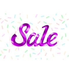 purple metal lettering sale price offer deal vector image