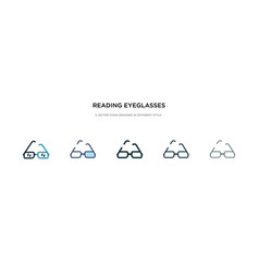 reading eyeglasses icon in different style two vector image