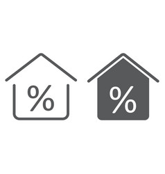 Real estate business line and glyph icon vector