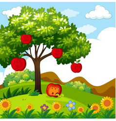 Red apple tree in the park vector