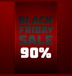 Red ribbon with black friday sale ninety percent vector