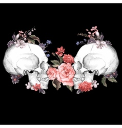 roses and skull day the dead vector image
