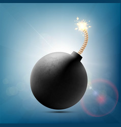 round metal bomb with a burning fuse vector image
