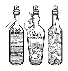 sand and seashells in bottles vector image