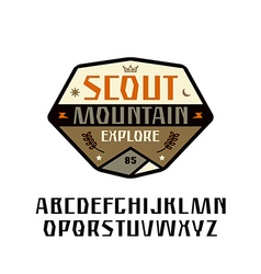 Sanserif font and scout patch vector
