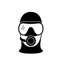 scuba diver icon head silhouette with diving vector image