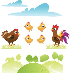 set chicken and hen vector image