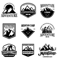 set mountain tourism emblems design element vector image