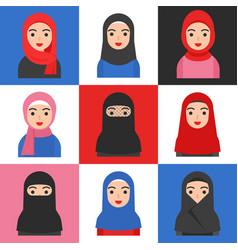 Set muslim women muslim avatar icon vector