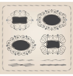 Set of calligraphy frames and brushes vector