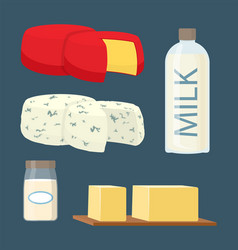 set of milk and dairy products in cartoon style vector image