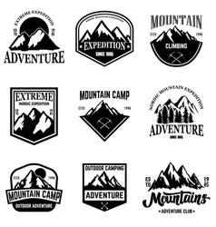 Set of mountain tourism emblems design element vector
