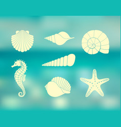 silhouettes sea shells seahorse and starfish vector image