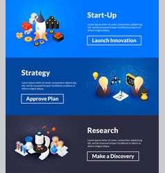 startup strategy and research banners isometric vector image