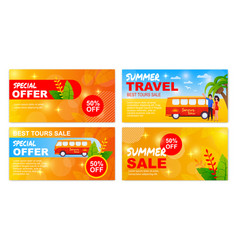 summer road trip special sales offer banners set vector image