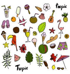 Summer tropical beach doodle set vector