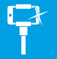 Taking pictures on smartphone on selfie stick icon vector