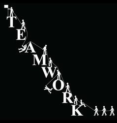 Teamwork themed mountaineering vector