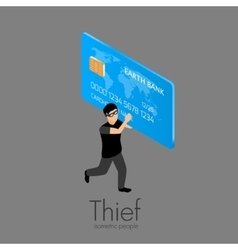Thief running with credit card vector image vector image