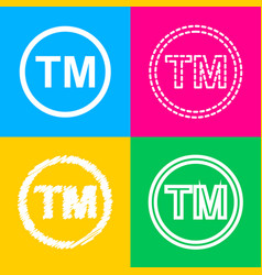 Trade mark sign four styles of icon on four color vector