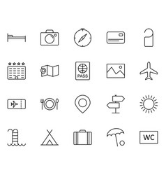 travel line icons set simple minimal pictogram vector image