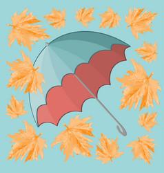 Turquoise umbrella and yellow maple leaf - autumn vector