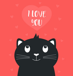 valentines card with cute black cat and heart vector image