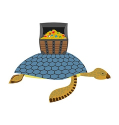 Water Turtle and treasure chest Marine reptiles vector image