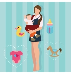 Woman mother holding carrying baby carrier child vector