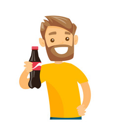 young caucasian white man holding bottle of soda vector image