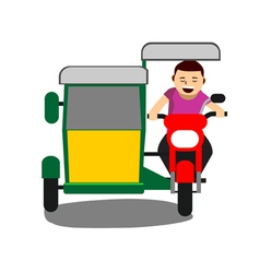 Young man driving a tricycle vector image