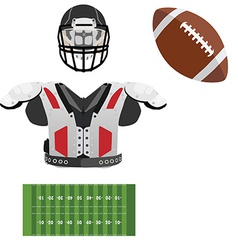 American football helmet ball field and armour vector