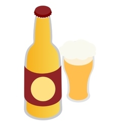 Bottle of beer and a full beer mug icon vector image