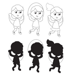 children jumping the rope coloring silhouettes vector image vector image
