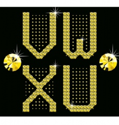 golden digital diamond alphabet new vector image vector image
