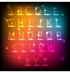 Luminous alphabet Neon English font vector image vector image