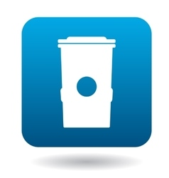 Trash can icon in simple style vector image