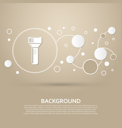 flashlight icon on a brown background with vector image