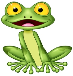 Cartoon cute frog vector image
