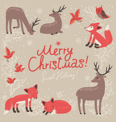 christmas card with deer and fox vector image vector image