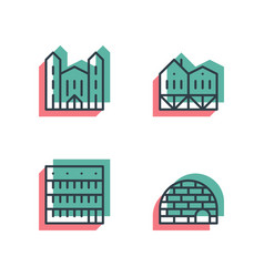 different house buildings icon set anaglyph 3d vector image