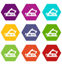 jack plane icon set color hexahedron vector image