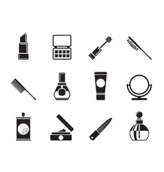 Silhouette cosmetic and make-up icons vector image vector image