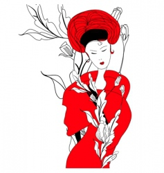 woman in red dress vector image